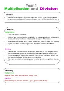 Objectives. Key Skills Multiplication. Division. Vocabulary Multiplication. Division