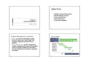 OBJECTIVES. Project Management: Defined. Gantt Chart. Chapter 3