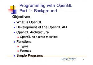 Objectives What is OpenGL Development of the OpenGL API OpenGL Architecture