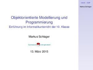 Objektorientierte Modellierung und Programmierung