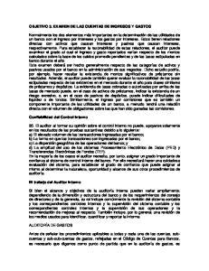 OBJETIVO 3. EXAMEN DE LAS CUENTAS DE INGRESOS Y GASTOS