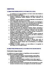 OBJETIVOS A) OBJETIVOS GENERALES DE LA MATERIA EN LA E.S.O