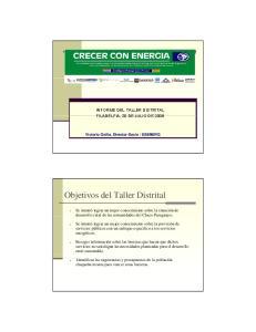 Objetivos del Taller Distrital