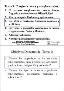 Objetivos Docentes del Tema 9: