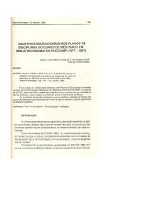 OBJETIVOS EDUCACIONAIS NOS PLANOS DE DISCIPLINAS DO CURSO DE MESTRADO EM BIBLlOTECONOMIADA PUCCAMP ( )