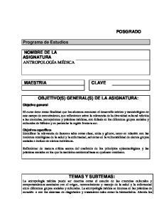 OBJETIVO(S) GENERAL(S) DE LA ASIGNATURA: