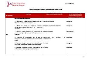Objetivos operativos e indicadores