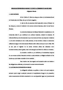 OBLIGACIONES SOLIDARIAS Y CUENTA CORRIENTE BANCARIA. Alejandro Borda