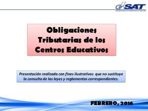 Obligaciones Tributarias de los Centros Educativos