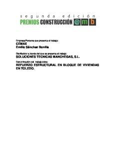 obra: REFUERZO ESTRUCTURAL EN BLOQUE DE VIVIENDAS EN TOLEDO