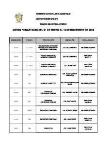 OBRAS FINIQUITADAS DEL 01 DE ENERO AL 15 DE NOVIEMBRE DE 2010