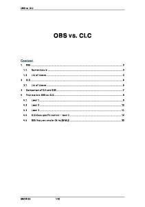 OBS vs. CLC OBS VS. CLC. Content