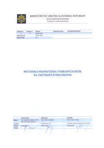 OBSAH 1. ODPOČET PLNENIA EX-ANTE KONDICIONALÍT V REZORTE VNÚTRA 2. TEORETICKÉ VÝCHODISKÁ HODNOTENIA RIZÍK