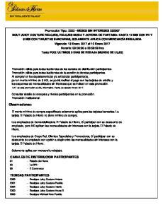 Observaciones: CANALES DE DISTRIBUCION PARTICIPANTES TIENDAS PARTICIPANTES