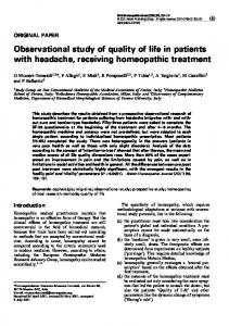 Observational study of quality of life in patients with headache, receiving homeopathic treatment