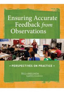 Observations PERSPECTIVES ON PRACTICE. Ensuring ng Accurate Feedback ed