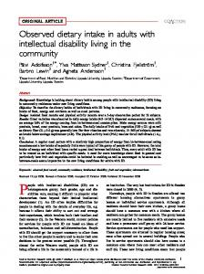 Observed dietary intake in adults with intellectual disability living in the community