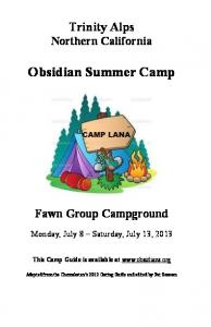 Obsidian Summer Camp
