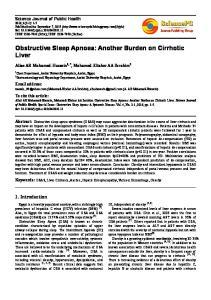 Obstructive Sleep Apnoea: Another Burden on Cirrhotic Liver