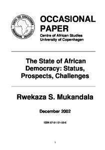 OCCASIONAL PAPER Centre of African Studies University of Copenhagen