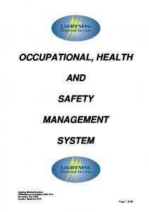OCCUPATIONAL, HEALTH AND SAFETY MANAGEMENT SYSTEM