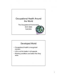 Occupational Health Around the World. Developed World