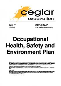 Occupational Health, Safety and Environment Plan