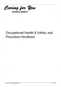 Occupational Health & Safety, and Procedure Handbook