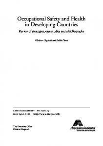 Occupational Safety and Health in Developing Countries