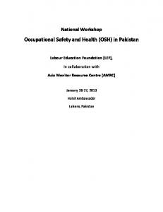 Occupational Safety and Health (OSH) in Pakistan