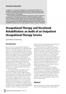 Occupational Therapy and Vocational Rehabilitation: an Audit of an Outpatient Occupational Therapy Service