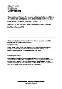 Occupational therapy for people with psychotic conditions in community settings: a pilot randomized controlled trial