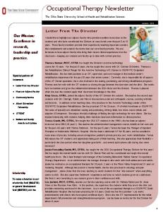 Occupational Therapy Newsletter