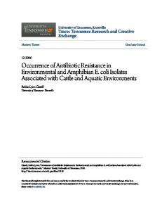 Occurrence of Antibiotic Resistance in Environmental and Amphibian E. coli Isolates Associated with Cattle and Aquatic Environments