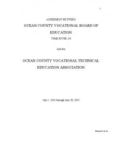 OCEAN COUNTY VOCATIONAL BOARD OF EDUCATION OCEAN COUNTY VOCATIONAL TECHNICAL EDUCATION ASSOCIATION