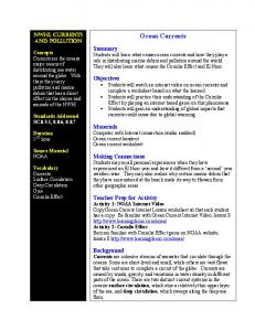 Ocean Currents. Materials Computer with Internet connection (audio enabled) Ocean current handout Ocean current worksheet