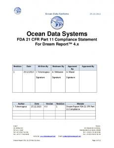 Ocean Data Systems FDA 21 CFR Part 11 Compliance Statement For Dream Report 4.x