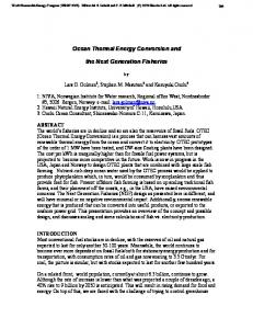 Ocean Thermal Energy Conversion and. the Next Generation Fisheries