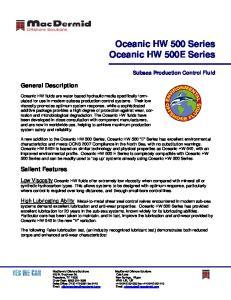 Oceanic HW 500 Series Oceanic HW 500E Series