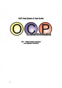 OCP Help System & User Guide