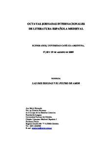 OCTAVAS JORNADAS INTERNACIONALES DE LITERATURA ESPAÑOLA MEDIEVAL