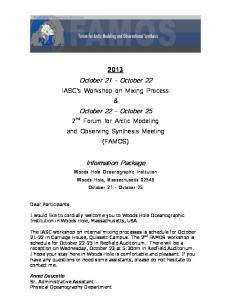 October 21 October 22. October 22 October 25. Information Package
