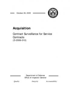 October 28, Acquisition. Contract Surveillance for Service Contracts (D ) Department of Defense Office of Inspector General