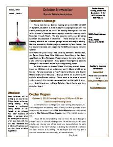 October Newsletter. Bon Air Artists Association