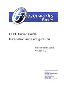 ODBC Driver Guide. Installation and Configuration. Freezerworks Basic Version 7.0