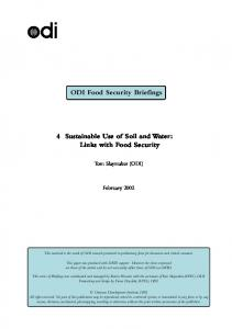 ODI Food Security Briefings. Sustainable Use of Soil and Water: Links with Food Security