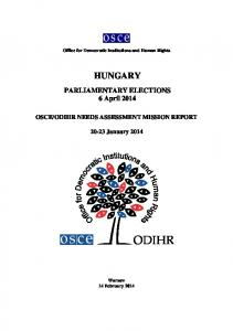 ODIHR NEEDS ASSESSMENT MISSION REPORT