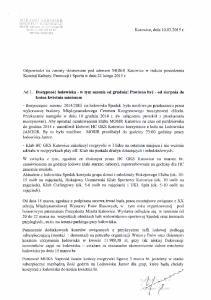 Odpowiedzi na zarzuty skierowane pod adresem MOSiR Katowice w trakcie posiedzenia Komisji Kultury, Promocji i Sportu w dniu 23 lutego 2015 r