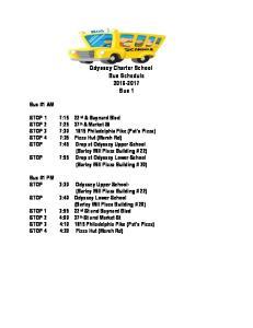 Odyssey Charter School Bus Schedule Bus 1