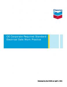 OE Corporate Required Standard Electrical Safe Work Practice